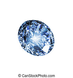 Blue diamond isolated on a white background.