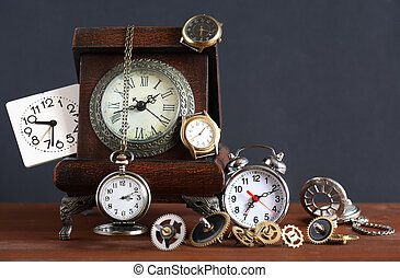 Time Concept - Time concept Set of various clocks and...