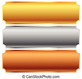 Gold, silver, bronze bars, banners Editable vector