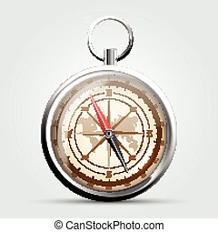 Steel compass with windrose and map.