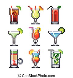 Pixel cocktails for games icons vector set - Pixel cocktails...