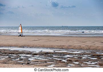 Sand yacht on a beach, north of France