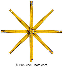 Wooden Folding Ruler Star Shaped - Old wooden yellow meter...