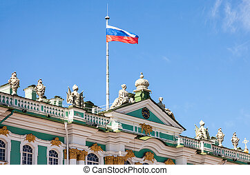 Russian flag on the Hermitage building in St. Petersburg, Russia