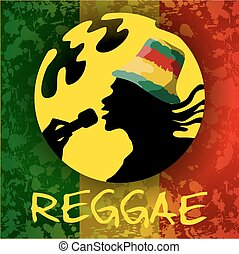 Reggae guy. Illustration with hand drawn guy and background...