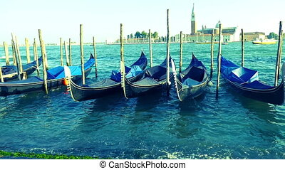 View of Grand Canal with gondolas and San Giorgio Maggiore...