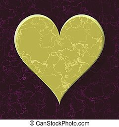 gold yellow heart on purple marble background - seamless pattern texture background