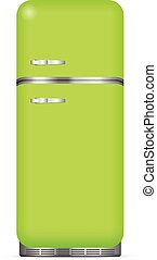 Classic fridge on a white background Vector illustration