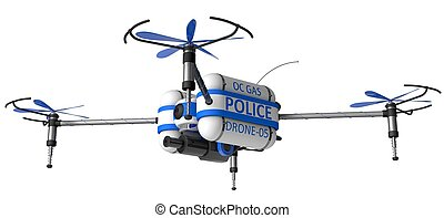 Police drone. armed with pepper spray.