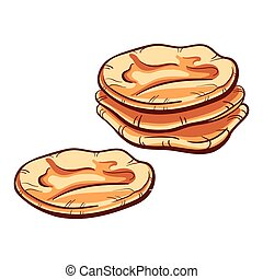 BakeryVector5 - Hand drawn pitas on the white background...