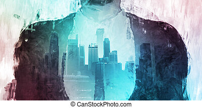 Businessman Corporate Cityscape Urban Scene City Buildings...