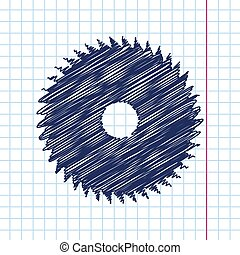 Circular Saw - Vector hand drawn circular saw icon on...