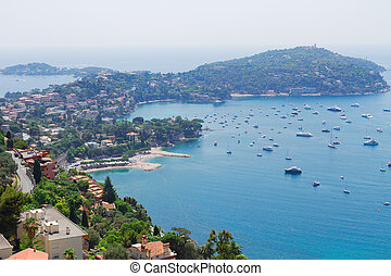 cote dAzur, France - lanscape of coast and turquiose water...