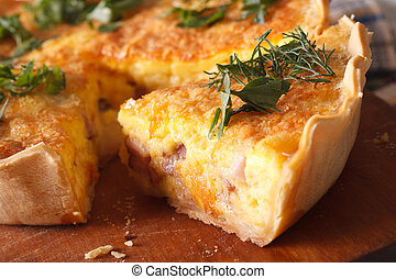 piece of quiche Lorraine macro horizontal - A piece of...