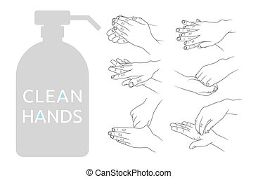 Clean hands vector illustration