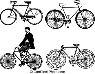 classic bike - silhouettes old classic bike Illustration...