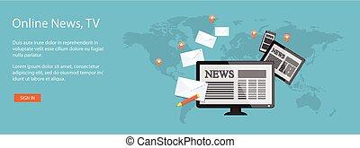 design for website of news online - Flat design modern...