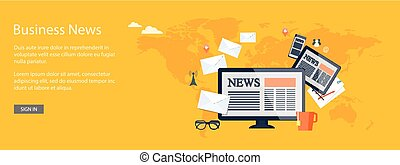 design for website of business news online - Flat design...