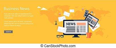 design for website of business news online - Flat design...