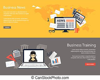 design for website of business news, training - Flat design...
