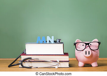 Master of Nursing MN theme with pink piggy bank with...