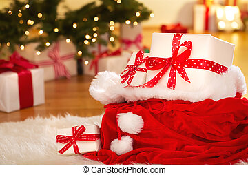 Christmas gift boxes at night - Christmas gift boxes in...