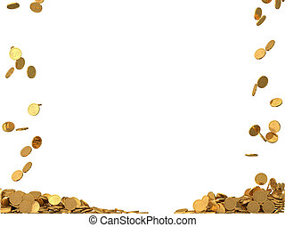 rounded golden coins with dollar symbol.