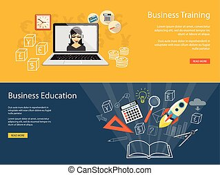 set of banners for business site - Flat design modern vector...