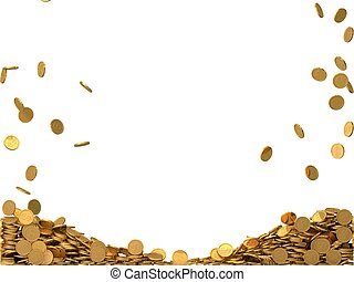 rounded golden coins with dollar symbol