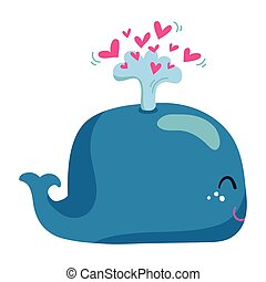 Cute whale with a fountain of heart