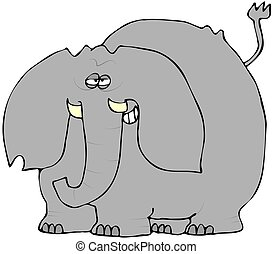 Smirking Elephant - This illustration depicts an elephant...