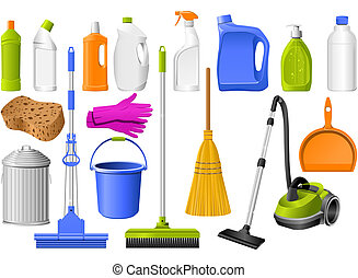 Cleaning icons - Domestic Tools for cleaning on the black
