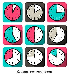 Retro Flat Design Clock Set