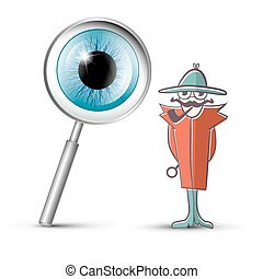 Detective with Magnifying Glass and Eye Symbol