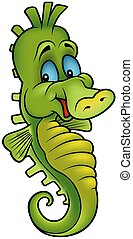 Smiling Seahorse - colored cartoon illustration