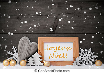 Golden Gray Decoration,Snow,Joyeux Noel Mean...