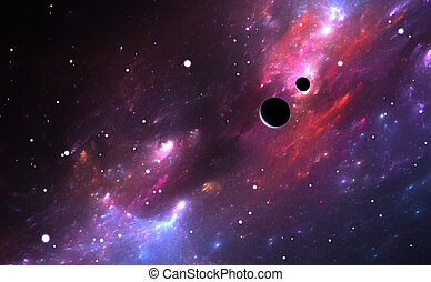 Space with nebula, planets and stars