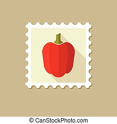 Pepper flat stamp with long shadow