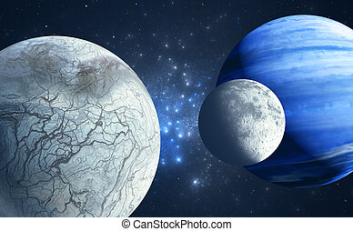 An Earthlike moon and icy moon orbiting a gas giant host...