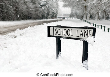 school lane street sign covered in snow