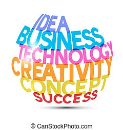 Idea Business Technology Creativity Concept Success Titles on White Background Vector Illustration