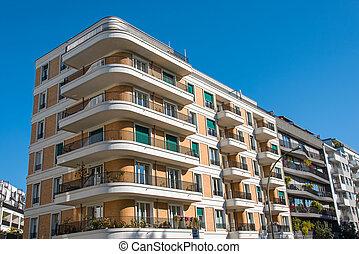 Row of modern residential buildings