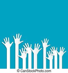 Voting Hands on Blue Background Vector Illustration