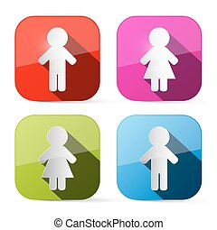 Man and Woman Icons - Buttons Web Symbols in Rounded Squares