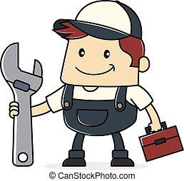 Plumber - Cartoon illustration of a plumber