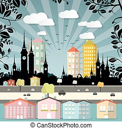 Retro Flat Design City Vector Illustration