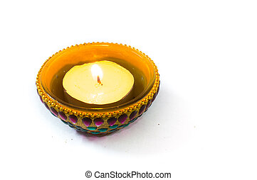 Diya lamp isolated on white - Diya lamp beautifully...