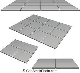 platform, pedestal, tiles