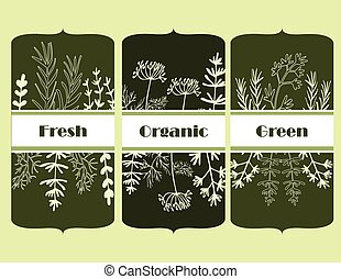herb tag on a green background organic and fresh
