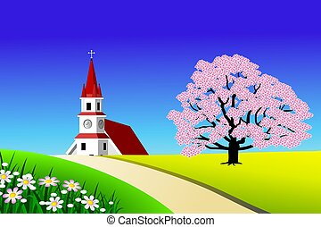 Scenic landscape - An illustration of scenic spring time...